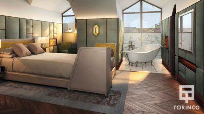 Habitación de hotel con ventana de aislamiento acústico y térmico