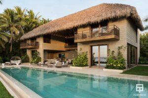Vivienda con ventanas de madera de aislamiento térmico y gran apertura