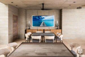 Comedor de la vivienda con ventanas de aislamiento térmico y gran apertura